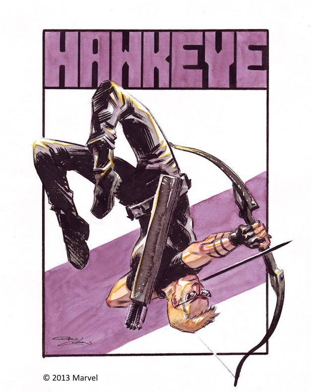 Ron Chan Hawkeye Sketch 2013 CBLDF