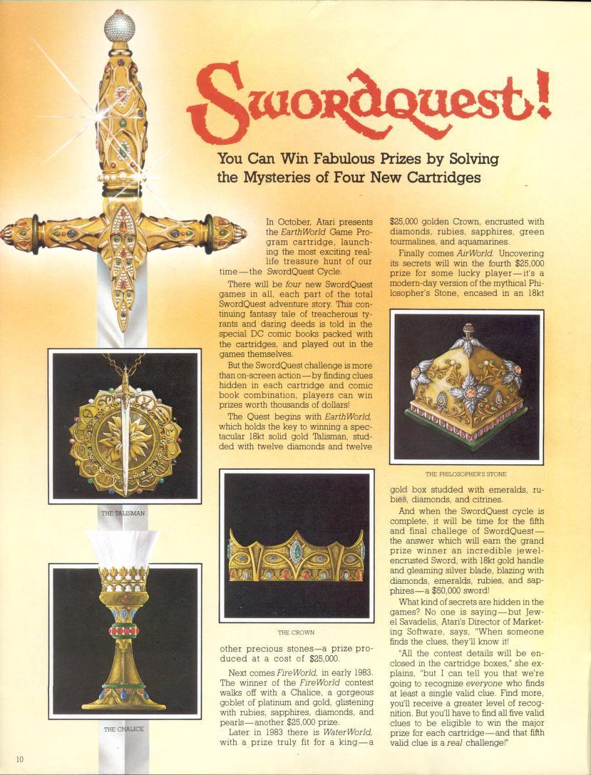Atari Swordquest Prize Ad