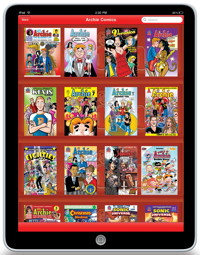 The Archie Comics app on the iPad.