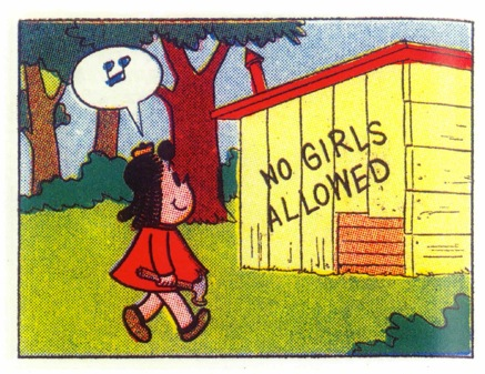 Like Little Lulu sneaking into Tubby's boys' club.