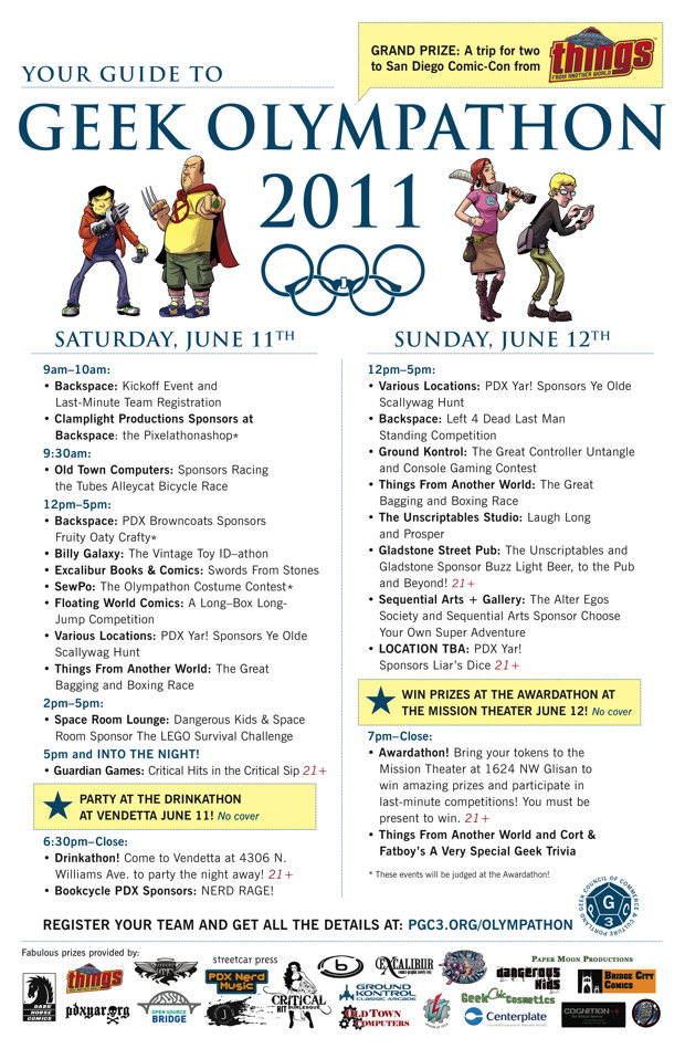 Geek Olympathon Schedule
