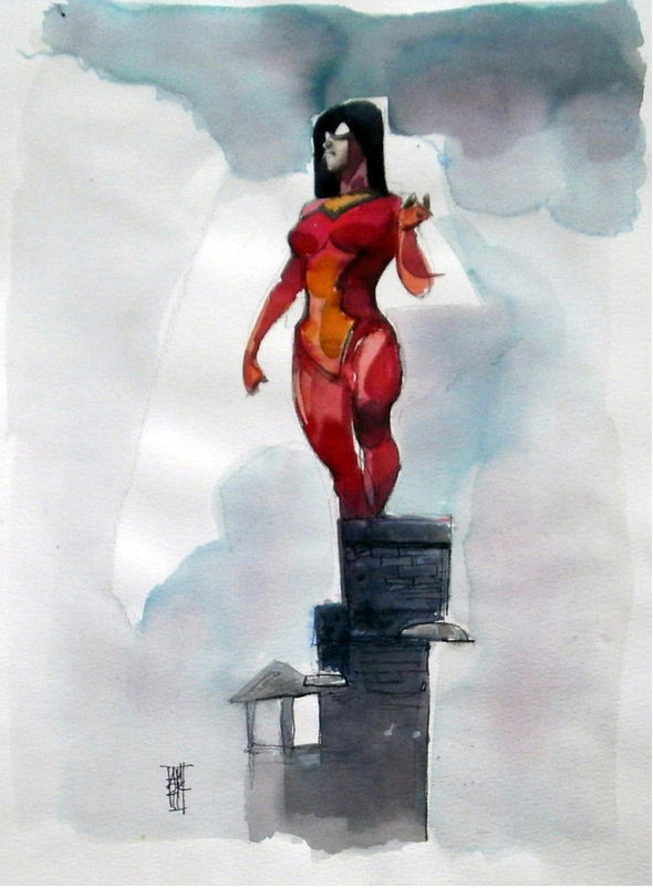 Alex Maleev CBLDF Spider-Woman Watercolor